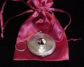 1920's Compact Purse Vintage Art Deco Powder Mirror Compact With Finger Ring