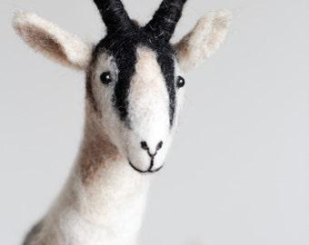 Jack - 100% Organic toy. Gift for kids Felt Goat Felted toy Art Marionette Puppet Goat Stuffed Animal Felt Toy. white natural brown