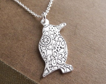 Penguin Necklace, Flowered Penguin, Fine Silver, Sterling Silver Chain, Made To Order