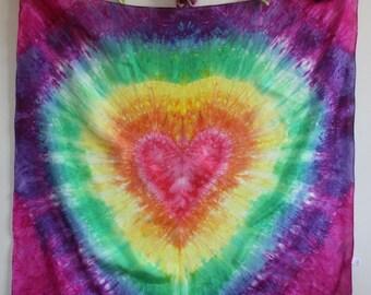 Rainbow Tie Dye Heart Playsilk  ~ Hand Dyed ~ Waldorf Inspired!