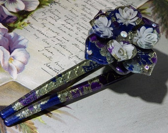 Reverse Carved Flower & Green Lucite Hair Comb Pin