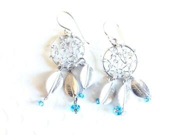 Dream catcher earrings, Boho dream catcher earrings, Dream catcher jewelry, silver dream catcher earrings,feather earrings,blue dreamcatcher