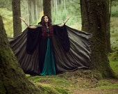 Dark green velvet cape, long velvet hooded cloak, medieval elven fantasy costume cape with hood