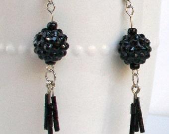 Black festive earrings