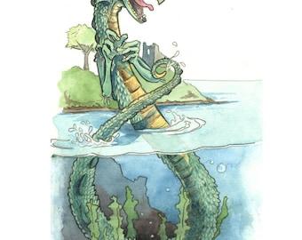 Loch Ness Monster Watercolor Print