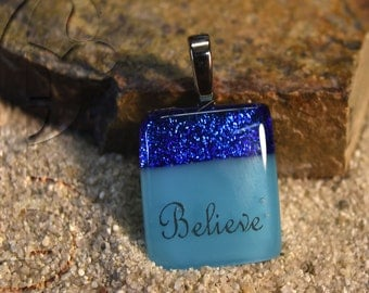Dichroic glass Pendant necklace with words