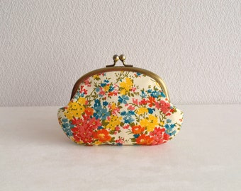 Liberty retro floral frame purse - orange - cottage chic