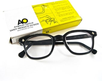 AO Flexi-Fit black horn rimmed eyeglass frames. Rare new old stock/NOS/deadstock glasses American Optical