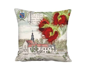 Pillow Cover - Pillow - Historical French Architecture Abbey and Red Orchid - 16x 18x 20x 22x 24x 26x 28x Inch Linen Cushion Cover