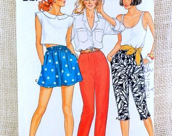 Vintage 1980s sewing pattern Butterick 3239 Retro Elastic waist high waist shorts pants capris Waist 23 24 25