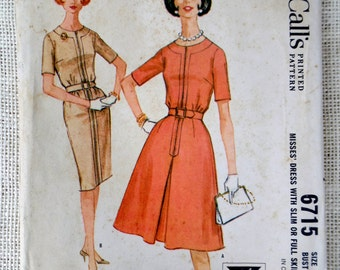McCall's 6715 Vintage sewing pattern Dress 1960s wiggle full skirt housewife Dress Bust 38 Large