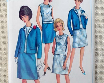Vintage Pattern Simplicity 6891 1960s shift dress shell jacket pencil skirt Bust 40 plus size Uncut