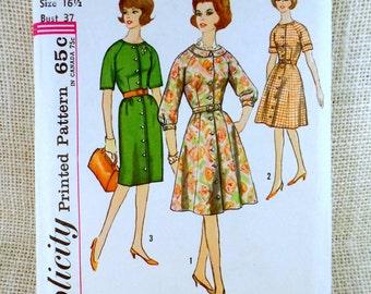Simplicity 4777 Vintage sewing pattern Dress 1960s shirtwaist Half Size Slenderette housewife Dress Bust 37