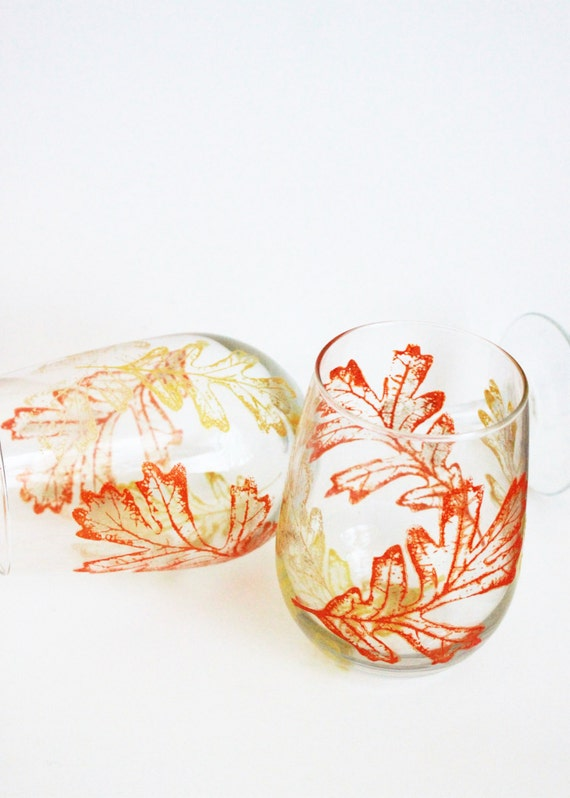 Hand Painted Wine Glasses, Fall Wine Glasses, Fall Wedding, Wine Gift, Fall Leaves, Stemless Wine Glasses, thanksgiving wine glasses
