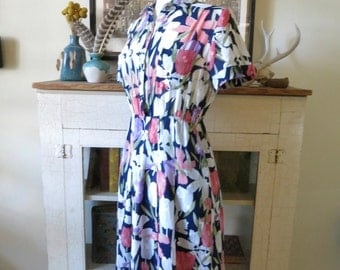 S, M 70s dress, pink tulips and navy, from Japan