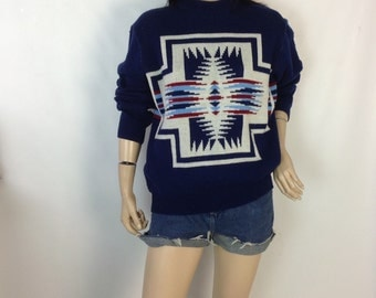 vintage 60s 70s Aztec Navajo Sweater Southwest Sweater Pendleton Style Sweater Jumper 43 in chest l large extra large or men's medium