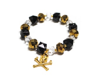 Black & Gold Skull and Crossbones Beaded Bracelet