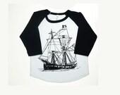 Kids pirate ship t-shirt, black and white raglan baseball kids shirt,  boys girls summer clothes, toddler clothes, 18-24m, 2t, 4t