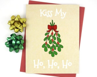 Naughty Christmas Card, Mistletoe Ho, Boyfriend Gift, Funny Cards, New Years Card