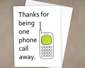 Mothers Day Card Unique, Phone Call Away, Mom Card, Mothers Day Gift, Mothers Day From Husband