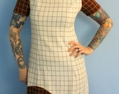 Vintage 1960s Shift Dress Brown and Cream Geometric Print Mod Moderist Mad Men Style Womens Retro