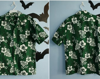 Vintage 60s 70s Mens Hawaiian Shirt Size Medium Green Hibiscus Flowers Kalena Fashions of Hawaii