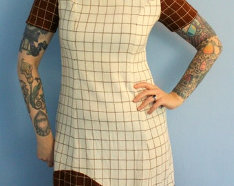Vintage 1960s Shift Dress Brown and Cream Geometric Print Mod Moderist Mad Men Style Womens Retro