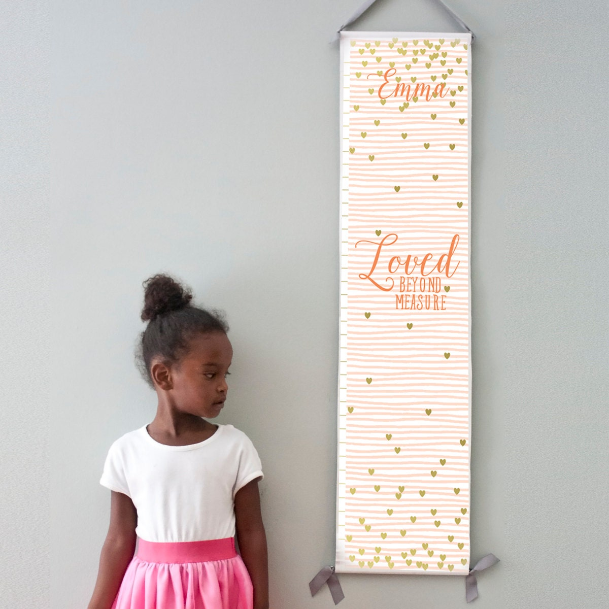 "Custom/ Personalized pink striped and gold hearts ""Loved beyond measure"" canvas growth chart for girl's room"