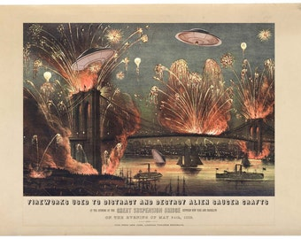 Brooklyn Print Digital Print Fireworks Firework Art Brooklyn Bridge Flying Saucer UFO Art UFO Sci Fi Geekery