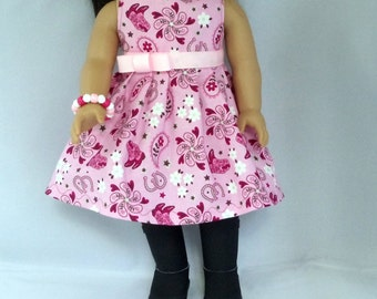 Pink Cowgirl Up Doll Dress- Handmade Clothes Will Fit 18 Inch Dolls Like American Girl