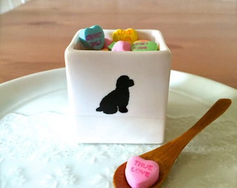 Gift for Dog Lover-Poodle Salt Cellar with Bamboo Spoon for Dog Owner, Square Flower Vase, Candle Holder, Treat Box