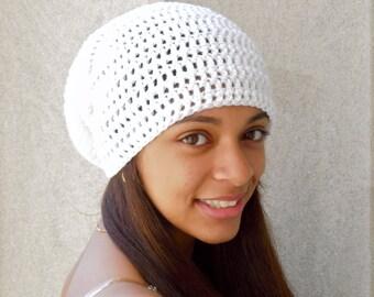 Slouchy Hat Crochet in White, Women, Teen, Men, Unisex, Ready To Ship,