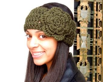 Crochet Headband, Flower Headband, Ear Warmer With Flower, Adult, Crochet, Green, Women