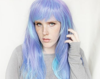 SALE Long Purple wig   Straight Blue Purple wig   Purple Scene wig, Cosplay wig   Luminesce