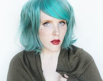 SALE Green wig | Short wig, short teal wig, scene emo wig, Emo wig | Wavy wig, cosplay wig, halloween wig | Capri Sea