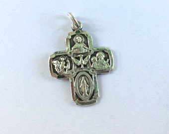 Vintage Sterling Silver Catholic Cross Pendant