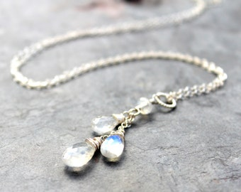 Moonstone Necklace June Birthstone Sterling Silver trio Cascade Gemstone Pendant Necklace, Rainbow Moonstone