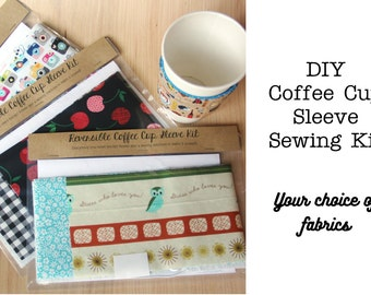 DIY Coffee Cup Sleeve Sewing Kit - Choose Custom Fabrics - Made to Order