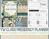 2017 YW CLASS Presidency Planner, Calendar, Organizer, Beehive, Mia Maid, Laurel, Young Women Planner - Printable Instant Download