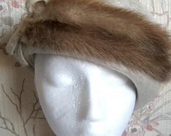 Vintage 1960s Fur Hat Beige Rabbit Fur Wool Ladies Hat Chapeau