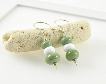 Sage Green Earrings, Glass Earrings Green and White, Artisan Glass Earrings, Pastel Earrings, Sage Green Jewellery, Green Drop Earrings