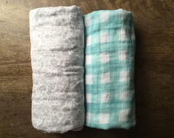 Swaddle Blankets, Gender Neutral Swaddles, Gauze Blankets, Gray and Aqua Blankets, Lightweight Summer Baby Blanket, Baby Shower Gift Set