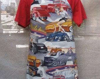 """Phils Drive In  Classic Cars Pin Up Waitress' BBQ Apron 32""""l x 29""""W"""