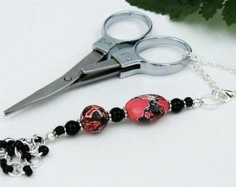 Scissors Fob, Mosaic Stone, Onyx, Silver, Key Fob, Purse Fob, Red Black, DIY Crafts, Cross Stitch, Sewing, Quilting, Knitting, Handmade Gift