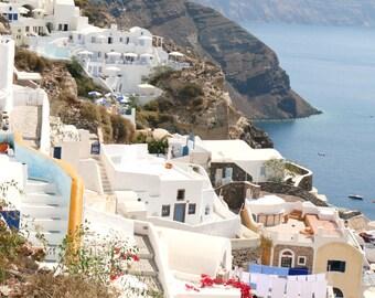 Santorini Greece Photography Print - Oia Photograph - Travel Photography - Mediterranean Wall Art - Greek Island Architecture Photo - Large