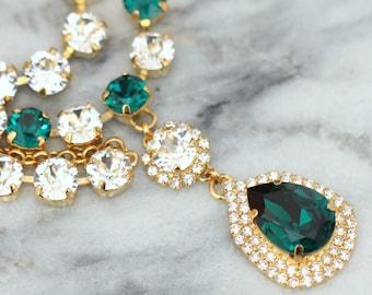 Emerald Choker Necklace,Bridal Crystal Choker, Swarovski Emerald Collar Necklace, Bridal Crystal Necklace, Statement Crystal Necklace