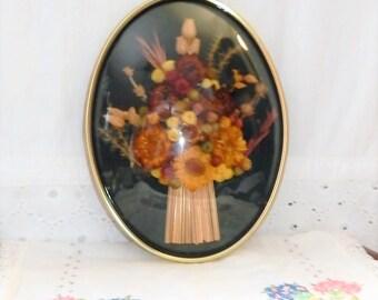 Vintage Framed Botanical Art - Dried Flower Bouquet - Oval Brass Frame Convex Glass - Floral Arrangement - Fall Wall Decor - Made in Belgium