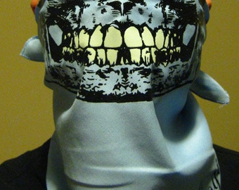 Sky baby light BLUE Skull Bandana half face Mask With Glow In The Dark Teeth Grillz wrap gaiter scarf neck warmer dust shield ski snowboard