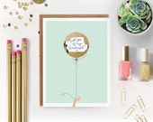 "6 Scratch-off ""Will You Be My Bridesmaid / Maid of Honor?"" Write-in Invitations // Mint and Gold Foil Balloon // Set of 6"