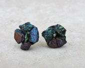 Chalcopyrite (Peacock Ore) Cluster Flower/ Raw Stone 8 mm or 10 mm Titanium Nickel Free (Hypoallergenic) Earring Posts/ Studs